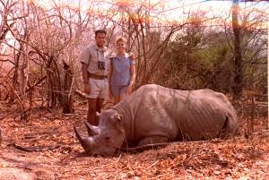 Rinoceronte negro, 1971. Con Isabel...