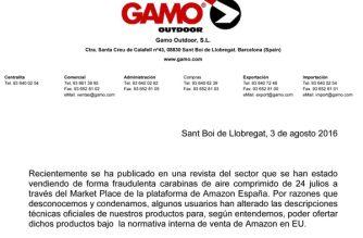 Nota de Gamo sobre la venta fraudulenta de carabinas de 24 julios