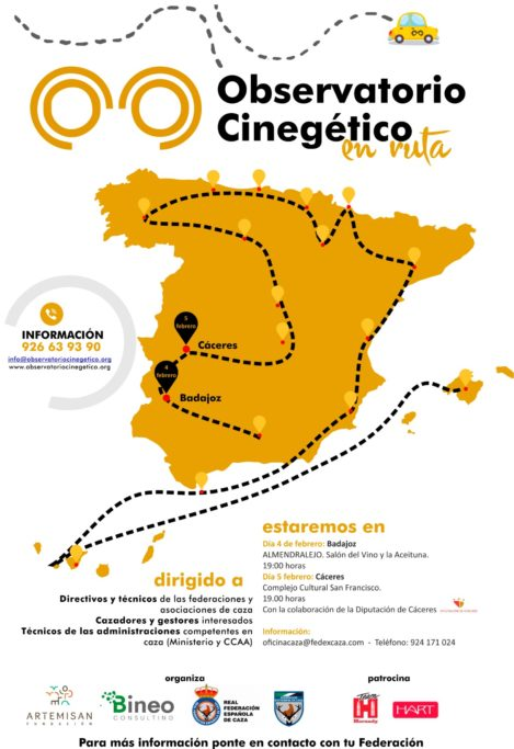 El Observatorio Cinegético impulsado por la Fundación Artemisan, la Real Federación Española de Caza y Bineo Consulting se presentará en Extremadura en las próximas semanas.