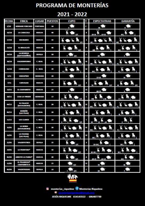 Calendario monterías Riquelme